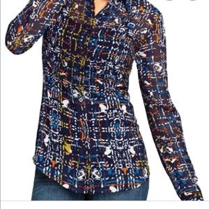 Cabi multi colored button up sheer blouse size sm